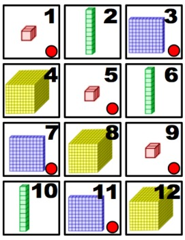 Base Ten Blocks Calendar Cards