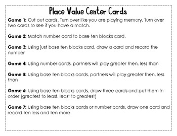 Place Value Tens and Ones Center