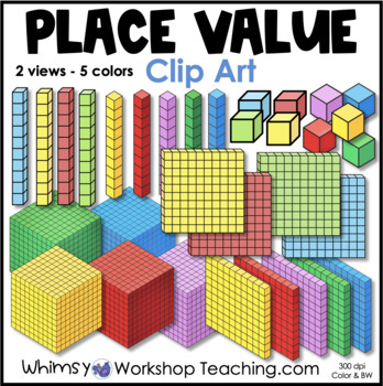 Base Ten Blocks Clip Art Set - Whimsy Workshop Teaching