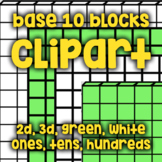 Base Ten Blocks - Clipart/Blacklines - Green and White, 2D and 3D