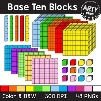 Flat Base Ten Blocks Clipart and Lineart personal and   Etsy