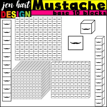 Base Ten Blocks Clipart {Mustaches}