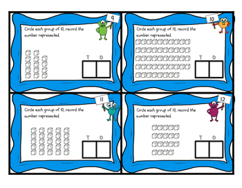 Base Ten Blocks Count Task Cards - 2 digit and 3 digit numbers