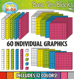 Base Ten Blocks Cube Clip Art Set 1 — Over 25 Rainbow Color Graphics!