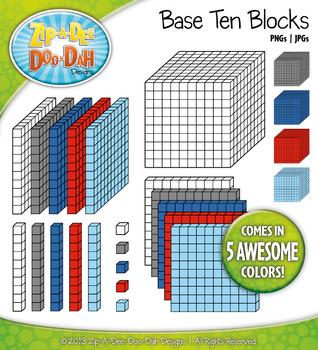 Base Ten Blocks Cube Clipart Set 10 {Zip-A-Dee-Doo-Dah Designs}