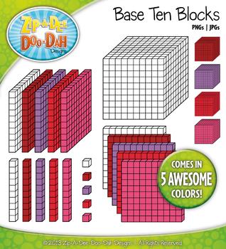 Base Ten Blocks Cube Clip Art Set 11 — Over 25 Rainbow Col