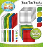Base Ten Blocks Cube Clip Art Set 3 — Over 25 Rainbow Color Graphics!