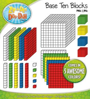 Primary Base Ten Blocks Cube Clipart Set {Zip-A-Dee-Doo-Dah Designs}