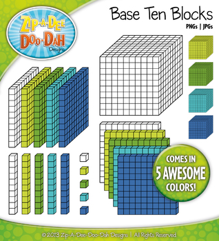 Base Ten Blocks Cube Clipart Set 5 {Zip-A-Dee-Doo-Dah Designs}