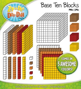 Base Ten Blocks Cube Clipart Set 7 {Zip-A-Dee-Doo-Dah Designs}