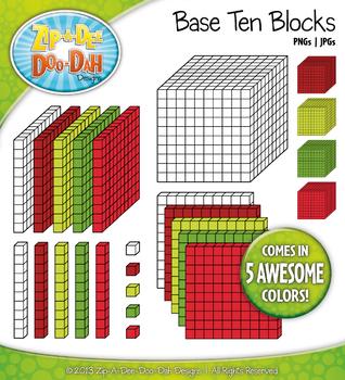 Base Ten Blocks Cube Clip Art Set 8 — Over 25 Rainbow Color Graphics!