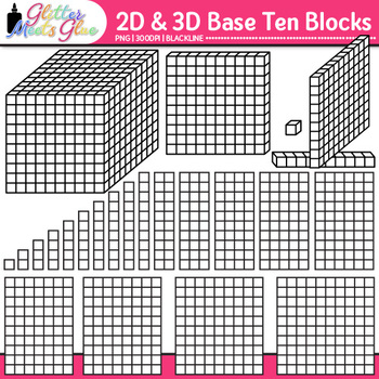 Base Ten Blocks and Cubes Clip Art {2D and 3D Counting Man
