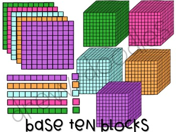 Base Ten Blocks Digital Clip Art Set