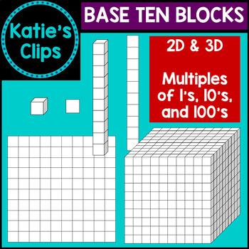 Base Ten Blocks {Katie's Clips Clipart}