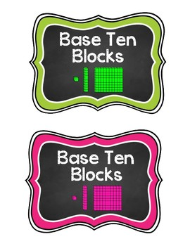 Base Ten Blocks Labels