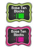 Base Ten Blocks Labels