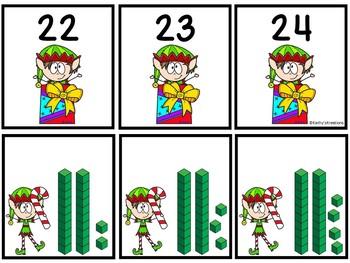 Base Ten Blocks Matching Elf Pals