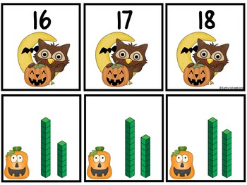 Base Ten Blocks Matching Halloween Owl