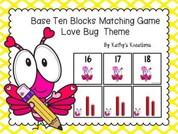 Base Ten Blocks Matching Love Bug Theme
