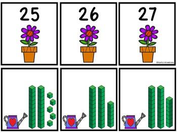 Base Ten Blocks Matching May Flowers