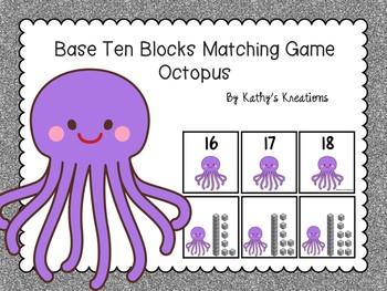 Base Ten Blocks Matching Octopus Theme