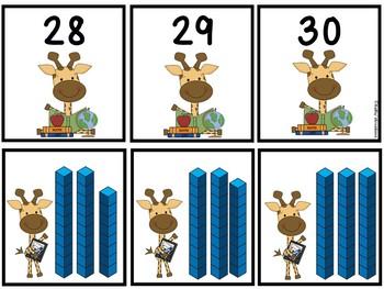 Base Ten Blocks Matching School Theme