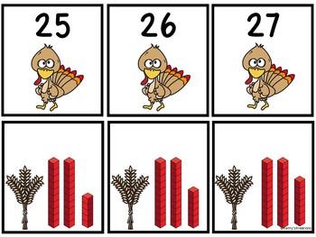 Base Ten Blocks Matching Turkey Time