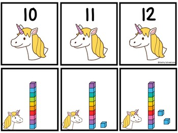 Base Ten Blocks Matching Unicorn Theme