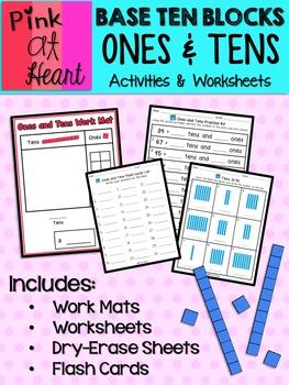 Base Ten Blocks: Ones and Tens Worksheets