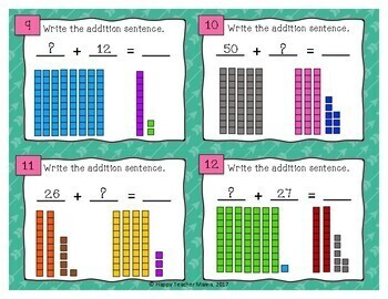 Base Ten Blocks Task Cards (Double Digit Addition)