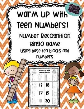 Base Ten Blocks Teen Number Bingo