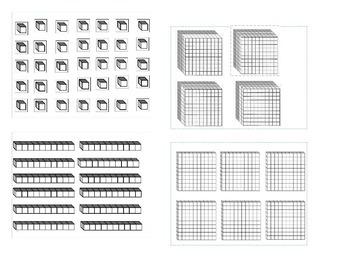 Base Ten Blocks Templates for Manipulation