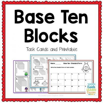 Place Value Base Ten Blocks and Standard Form Task Cards