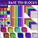 Base Ten Blocks Clipart {2D & 3D Neon}