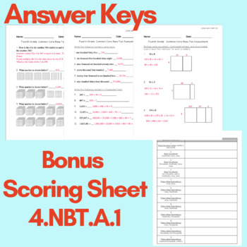 Base Ten Common Core Math Assessments for each Standard--Grade 4