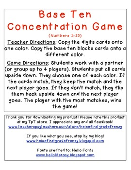 Base Ten Concentration Game {Numbers 1-15}