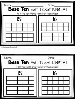 Base Ten Exit Tickets