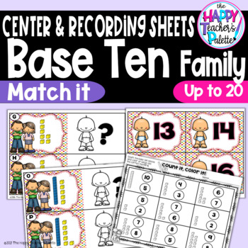 Base Ten Family Match It ~1-20~ Place Value Activity