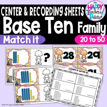 Base Ten Family Match It ~20-50~ Place Value Activity
