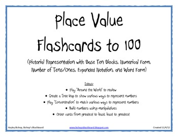 Base Ten Flashcards to 100