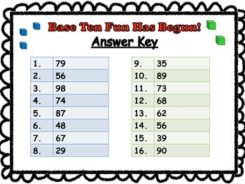 Base Ten Fun Has Begun! (Base Tens and Ones Addition without Regrouping Game)