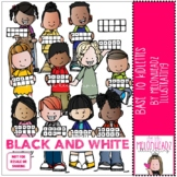 Base Ten Kidlettes clip art - BLACK AND WHITE - by Melonhe