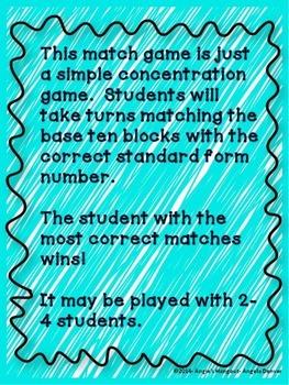 Base Ten Match Game