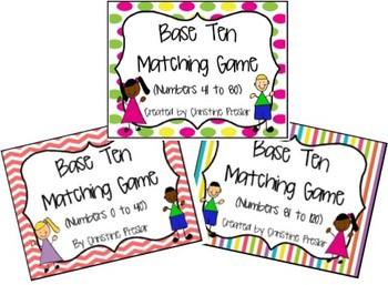 Base Ten Matching Games Bundle - {Numbers 0 to 120}