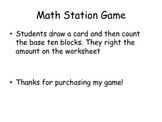 Base Ten Math Center Game