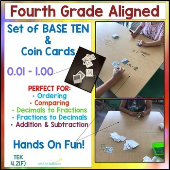 Base Ten & Money Cards for Ordering Decimals and Practice