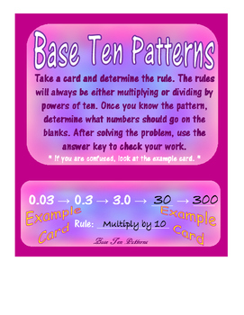 Base Ten Myster and Base Ten Patterns