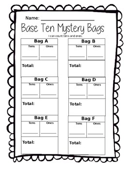 Base Ten Mystery Bags (Tens and Ones, Place Value)