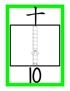 Base Ten Number Posters (1-20) {White version} Chinese Numbers