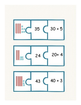 Base Ten Number Puzzle Match